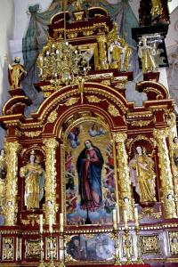 Lewy przy tęczy, wczesnobarokowy około połowy XVII wieku z rzeźbami św. Barbary, Rozalii, Wojciecha, Stanisława…