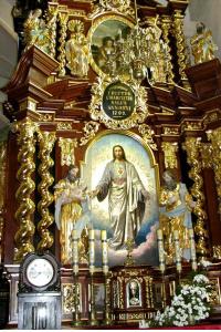 Prawy przy tęczy, późnobarokowy 1709, z rzeźbami św. Józefa, Joachima, Rocha, Sebastiana, Jana Ew.,…