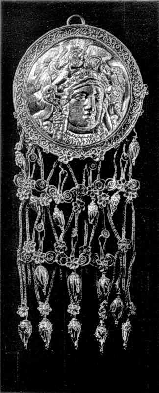 Золота підвіска з головою Афіни