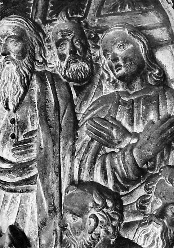 """""""Омовения ніг"""". Деталь барельєфу в каплиці Боїмів у Львові. 1621 р."""