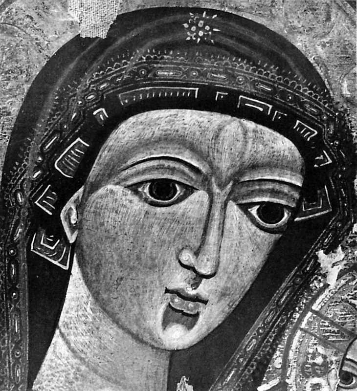Богоматір. Деталь ікони з Миколаївської церкви в Ізках