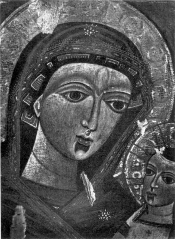Богородиця Одигітрія з пророками. Ікона 16 ст. Фрагмент