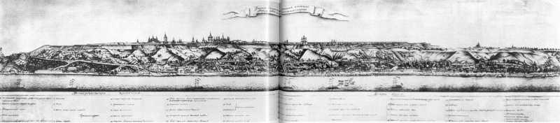1786 р. Фасад Старокиївської фортеці та нижнього міста Києво-Подолу зі сходу