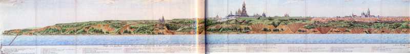 1798 р. Краєвид з-за Дніпра Києво-Печерської фортеці та частини форштату