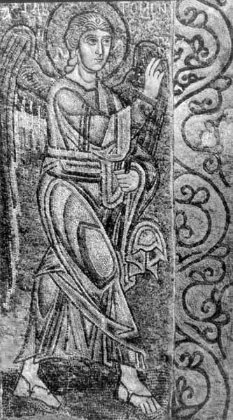 """Архангел Гавриїл. Частина мозаїчкої композиції """"Благовіщення"""", 11 ст."""