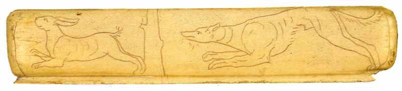 Накладка на складаний гребінець з гравійованим зображанням собаки, котра женеться за зайцем