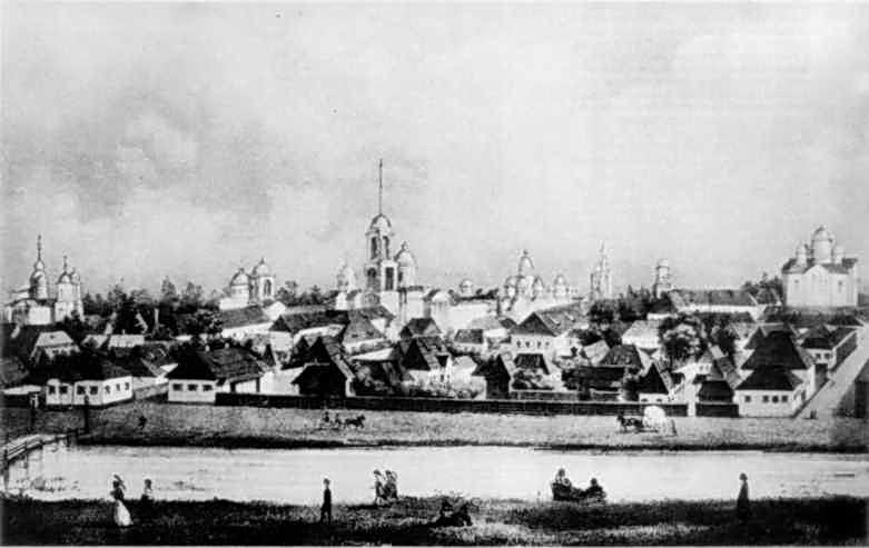 Сер. 19 ст. Загальний вигляд міста з-за Остра