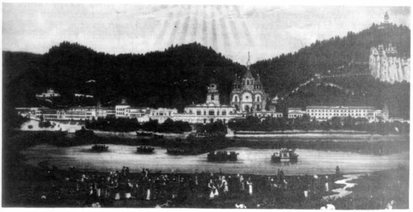 1891 р. Успенська Святогірська гуртожитна пустинь. Літографія