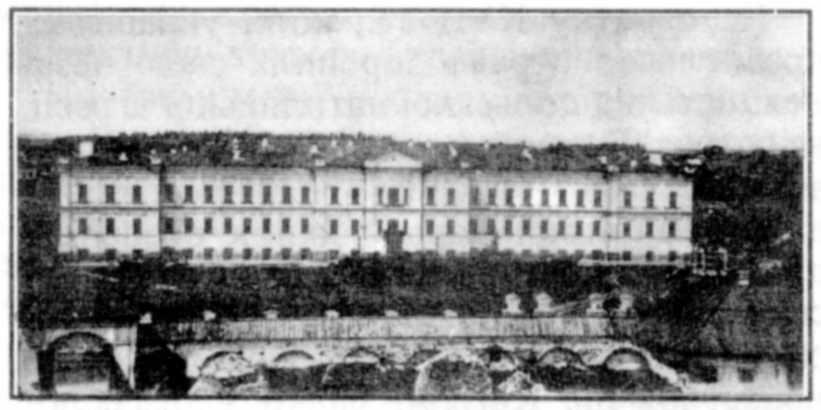 """Вигляд Казанської церкви (крайня зліва) з листівки """"Чернигов, мужское духовное училище"""""""