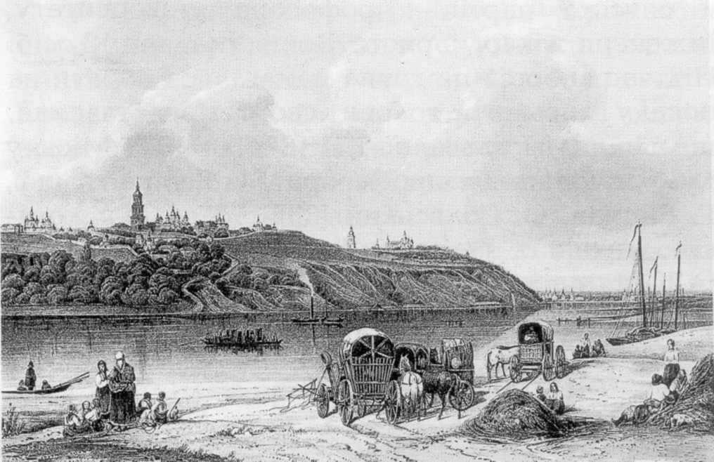 1840-і рр. Сажин М. Вид Києво-Печерської лаври з лівого берега Дніпра