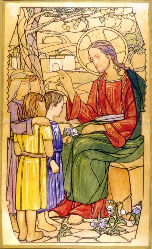 """Сосенко М. Картон вітражу """"Христос благословляє дітей"""""""