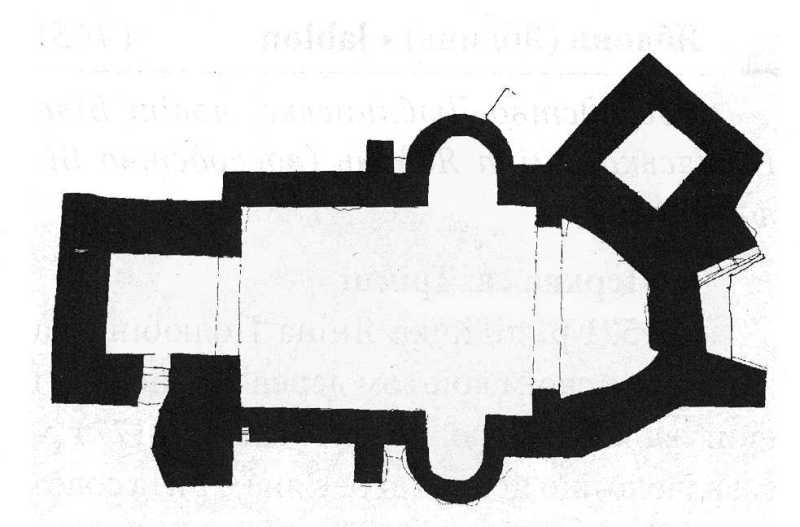 План церкви на XVII ст. За матеріалами розкопок 1992 р. Опрацювання автора.