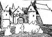 Л.-Е.Ізабе. Відвідини монастиря. Контурна копія