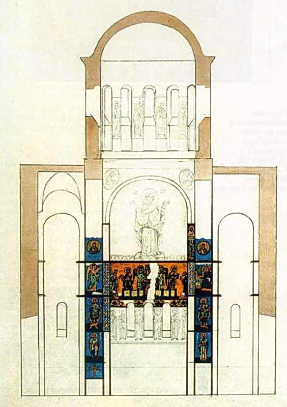 Михайлівський собор. Збережені мозаїки і фрески XII ст. Мал. Л.Тоцького