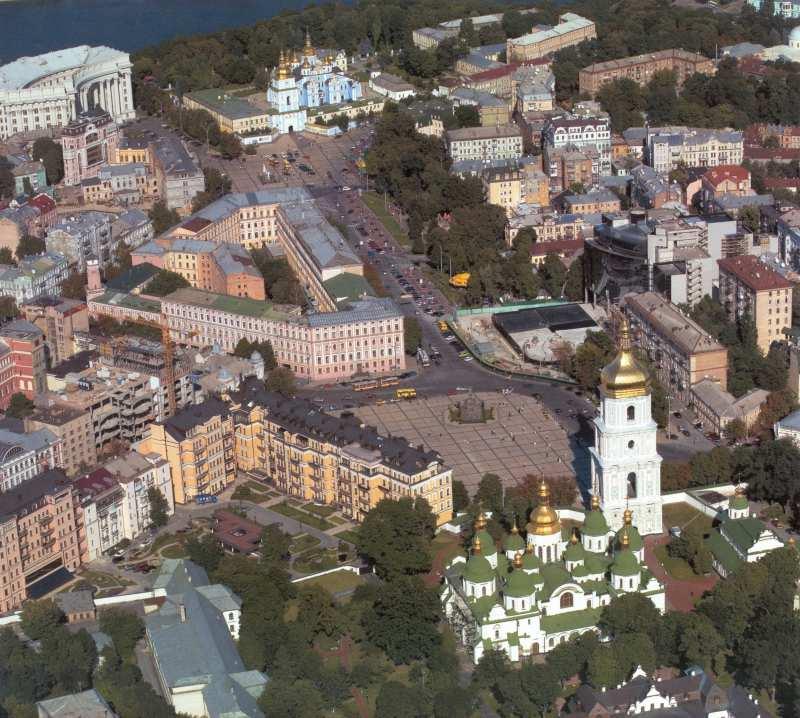 2005 р. Аерофотознімок історичного центру з Софійським та Михайлівським соборами