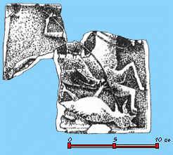 Реконструкція плитки з зображенням Георгія Побідоносця, знайденої при розкопках