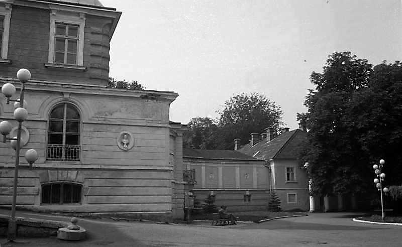 1989 р. Західна частина центрального корпусу, галерея і флігель. Вигляд з півночі