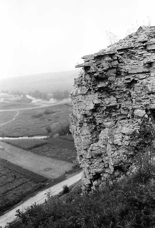 1989 р. Фрагмент муру і долина Збруча. Вигляд з південного сходу