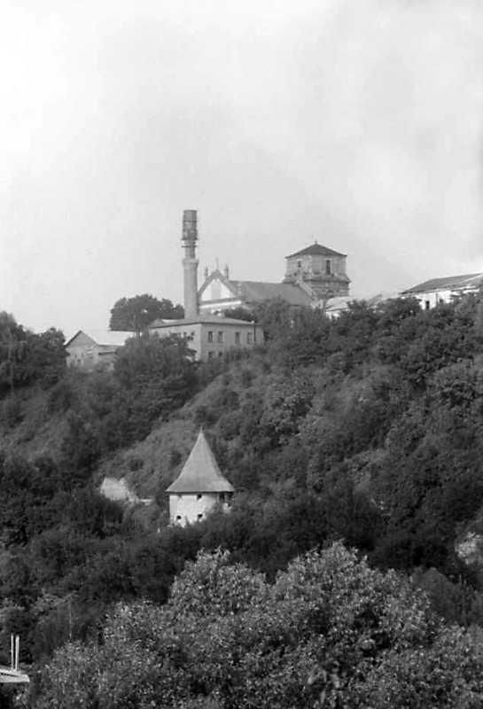 1991 р. Кафедральний костел і башта на броді. Вигляд з південного заходу