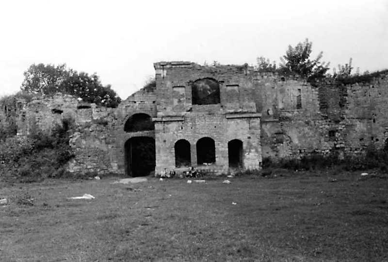 1991 р. Прясло і брама 2, башта 1. Вигляд з південного заходу